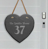 Personalised Slate Stone Hanging Heart House Number Name Door Sign Plaque