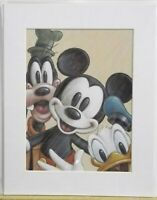 3 Sealed Walt Disney Prints Mickey Mouse Pluto Donald Goofy Bruce Mcgaw matted