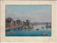 "ZÜRICH: ""Zurich prise du pont de la Cathédrale"", Aquatinta von Dikenmann, 1855"