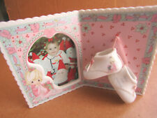 """PRECIOUS MOMENTS """"PHOTO FRAME WITH MINI SHOES""""  #239542 BABYS FIRST CHRISTMAS"""