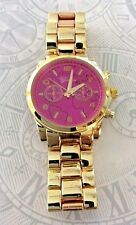 GENEVA WOMENS DESIGNER INSPIRED WATCH GOLD FINISH PINK ROUND DIAL EASY TO READ!