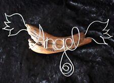 Angel Dekoschrift Schriftzug Schild aus Aludraht auf Schwemmholz/Treibholz 25x46