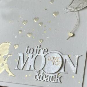 Metal cutting dies to the moon and back phrase die mold Scrapbook cards craft