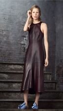 NWT TIBI Fluted lambskin leather midi dress - wine / burgundy 2 XS
