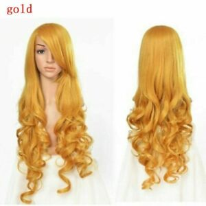 Lady Long Curly Hair Wigs Cosplay Hairpiece 80cm Stage Party Head Accessory Gold