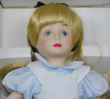 1988 Disney Collection Alice In Wonderland Porcelain Doll w Stand, Box, 13 Inche