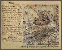 "1862 Map, Civil War, Williamsburg, Virginia, Sketch Drawn Map, antique, 20""x16"""