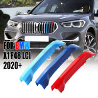 For BMW X1 F48 LCI 2020+Front Grill Grille Cover Decal Stripe Clip Trim 3