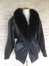 Vintage Black Leather Fox Fur Jacket Coat Womens Small 80s Avanti
