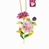 Betsey Johnson Enamel Chrysanthemum Flower Pendant Chain Necklace/Brooch Pin