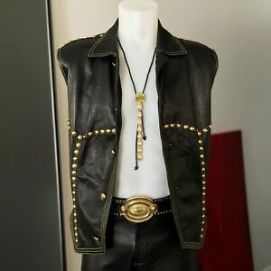 GIANNI VERSACE black leather vest w/ gold tone studs from fw 1992/93 Bondage