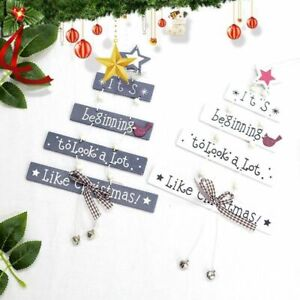 Christmas Wooden Pendant Hanging Door Decorations Xmas Tree Home Party Ornaments