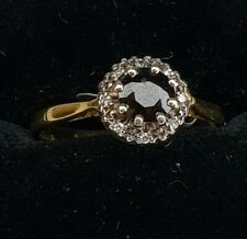 VINTAGE 18 CT GOLD SAPPHIRE & DIAMOND CLUSTER RING  SIZE R  8 5/8