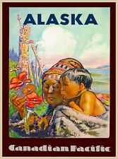 Alaska Canadian Pacific Vintage United States Travel Collectible Art Poster