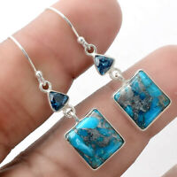 Silver Blue Turquoise and London Topaz 925 Silver Earrings Jewelry AE22812