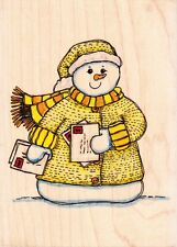 Carte de Noël Bonhomme de neige-Lindsay Mason-bois monté tampon en caoutchouc