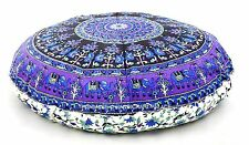 Indian Elephant Mandala Huge Meditation Round Floor Cushion Cover Pillow Sham