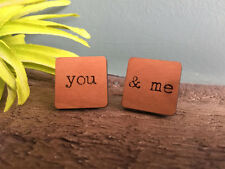 Personalised Wooden Cufflinks Wedding Gift Best Man Any Design Natural Wood