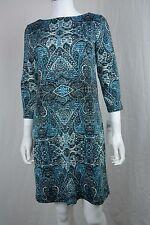 Women's London Times size 6 Paisley Green 3/4 Sleeve Sheath Dress NEW NWT