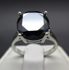 6.25cts 11.93mm Natural Black Diamond Ring, Certified, AAA Grade & Value