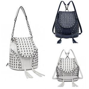 Ladies Skull Studded Backpack Girls Drawstring Faux Leather Handbag Shoulder Bag