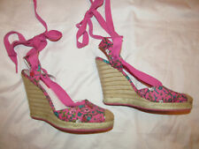 BETSEY JOHNSON pink floral pin up wedge sandals espadrilles shoes 8.5 *