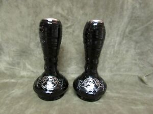 Ca 1910 Diamond Glass Barcelona Sterling silver Overlay pair Vase Black Amethst