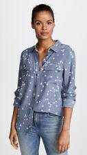 New Arrival $248 Silk Slim Signature Star Equipment Shirt Middle Blue XS/S/M/L