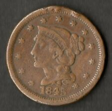 USA Large Size Copper One Cent 1845 F
