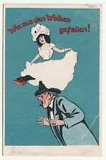 Künstler Ak Scherz Humor Frau fällt aus den Wolken 1920 ! (A1134