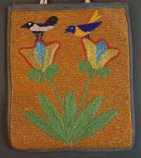 Very Fine Early 1900 Native American Plateau Beaded Bag 2 Birds on Flowers