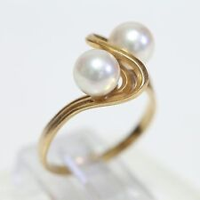 """Retro 18K Gold & Dual Pearl Ring, 4.0 grams, size 6.75, Jewelers Mark """"T"""" Vg!"""
