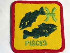 """""""Pisces"""" Sign of the Zodiac Astrology Sew on Cloth Patch Badge 1970's"""