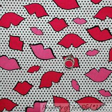 BonEful FABRIC FQ Cotton Quilt White Black B&W Pink LIP Valentine Candy Dot Love
