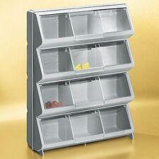 Stack-On Clear View 12 Bin Organizer Storage Bins Cubby Garage Home Tools Shop