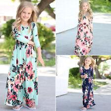 Kids Girls Children Casual Long Sleeve Pocket Long Shirts Beach Long Maxi Dress