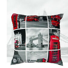 London sights pictured bus red phonebox bridge picture Cushion complete with pad
