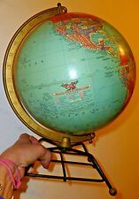 """Vintage Mid Century Replogle reference 10"""" Desk Top Globe Wire hairpin base MCM"""