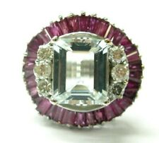 BIG Aquamarine Ruby & Diamond Ring 14Kt White Gold 8.90Ct