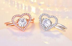 2PCS Heart Adjustable Ring 925 Sterling Silver Women Girl Jewellery Xmas Gift UK