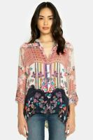 Johnny Was Multi Patch 3/4 Sleeve Button-Down Printed Top C16718 NEW