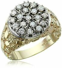 IBGOODMAN Men's 10k Two-Tone Gold Nugget Sides Real Diamond Cluster Ring 1 cttw