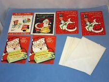 6 Unused Vtg Christmas Card Novo Laugh w plastic charms Ivory soap Magic Slate