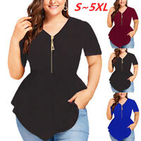 Women Plus Size V Neck Short Sleeve Zipper Blouse Ladies Summer Loose Shirt Tops