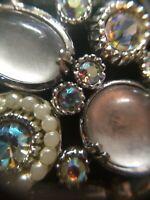 Rare Vintage Signed Selro Silvertone faux Moonstone AB Rhinestone Bracelet