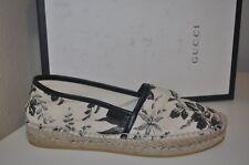 NIB GUCCI PILAR Floral Print Canvas Espadrilles Flats Shoes Womens 7 Black Ivory