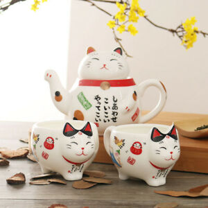 Japanese Lucky Cat Ceramic Tea Set Tea Cup Pot Teapot Mug Infuser Cups Porcelain