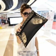 2017  Handbag Korean Fashion Women Rivet Skull Envelope Clutch Bag shoulder Bag