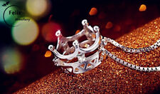 Queen Imperial crown Pendant 925 Sterling Silver Necklace Chain women Xmas gift