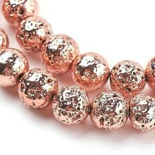 Lava Beads 8mm Rose Gold Plated Electroplated x 46 Pieces